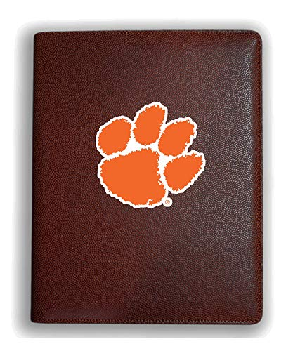 Zumer Sport Clemson Tigers Football Leather Portfolio Padfolio Notebook Planner Pad - Made from Actual Football Materials - Brown