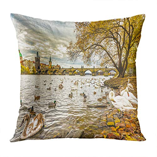 Peyqigo Throw Pillow Cover 18x18 Inch Prague Charles Bridge Old Town Czech Republic Riverside Scenic View Swans Polyester Square Cushion Bedroom Couch Sofa Car Decorative Pillowcase]()