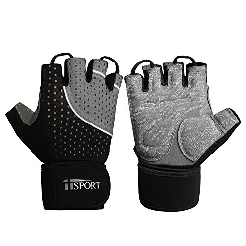 (iiSPORT Workout Gloves for Men and Women, Anti-Slip Padded Gym Gloves with Wrist Support for Gym Bodybuilding Crossfit Cross Training Gloves - Gray L)