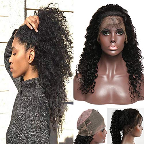 360 Lace Frontal Wig Deep Wave Brazilian Human Hair 18 Inch Curly 360 Wigs with Baby Hair Pre-plucked Virgin Hair 360 Lace Front Wig for Black Women 130% Density #1B Natural Black 18