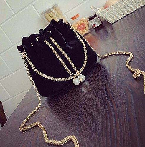 KPHY-Todo El Partido La Cadena De Moda Bolsa De Portátil Bucket Bag Bolsa De Terciopelo Xiekua PaqueteBlack black