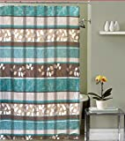 Aqua Blue Fabric Shower Curtain: Primitive Striped Floral Design, 70 by 72 Inches with Roller Ball Hooks, Teal Aqua Brown Beige