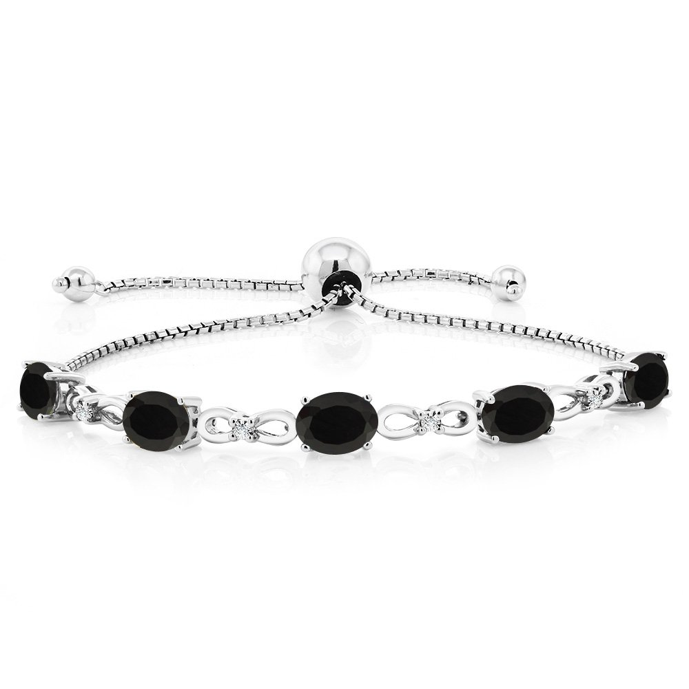 Gem Stone King 925 Sterling Silver Black Onyx and Diamond Adjustable Tennis Bracelet, 4.00 Ctw, 7X5MM Oval Gemstone by Gem Stone King