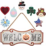 YEASL Interchangeable Seasonal Welcome Sign - Front Door Decor Wall Hanging Wood Plaque Whimsical Porch Decorations for Home
