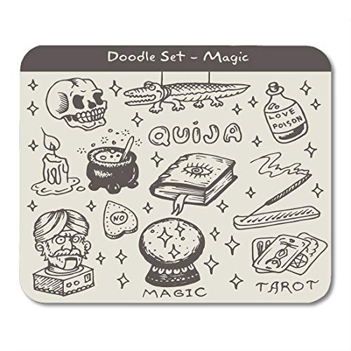 Emvency Mouse Pads Candle Tarot Magic Doodle Ouija Fortune Glass Teller Book Mouse Pad for notebooks, Desktop Computers mats 9.5