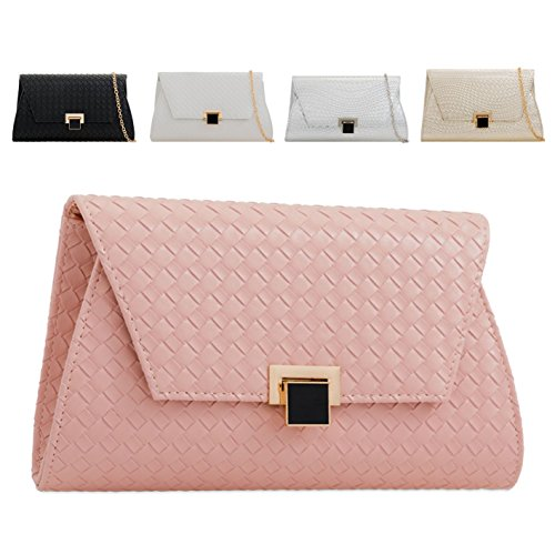Leather Ladies Clasp Bag KLY2285 Silver Clutch Woven Designer Front Women's Faux Handbag xwqAwp