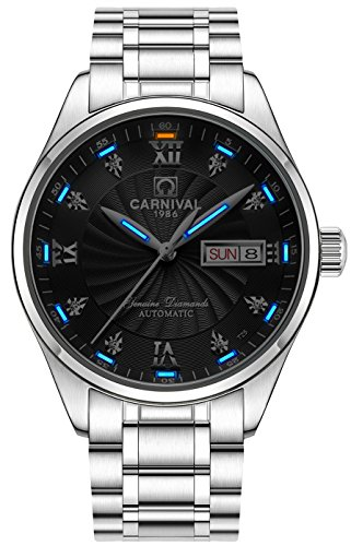 Men's Wrist Watches Automatic Mechanical with Luminous Tritium (Blue Light-Black ()