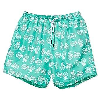 98 Coast Av Bike Swimwear Shorts for Men - Green and White
