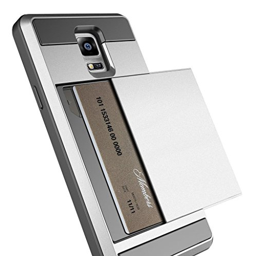 Note 3 Case, Anuck Protective Shell Galaxy Note 3 Wallet Case Card Pocket Shockproof Dual Layer Hybrid Rubber Bumper Case Cover with Card Slot Holder for Samsung Galaxy Note 3 - Silver