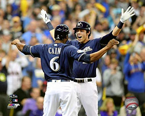 - Lorenzo Cain Christian Yelich Milwaukee Brewers 2018 NLDS Action Photo (Size: 11