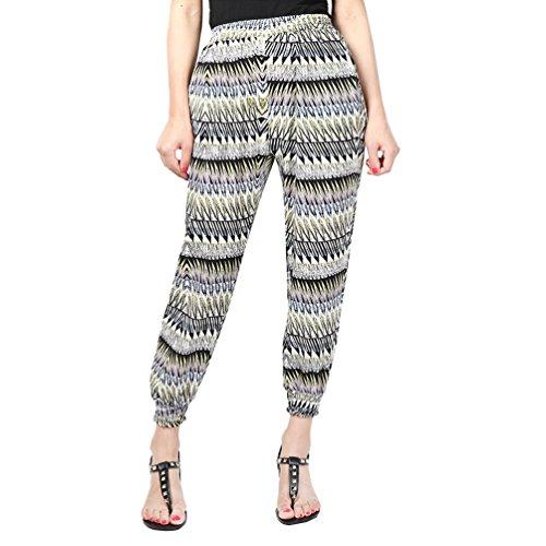 YuanDian Mujer Casual Tamaño Grande Gasa Impresión Cintura Elástica Harem Pantalones Talle Alto Ancho Nueve Puntos Pantalon Amarillo Onda