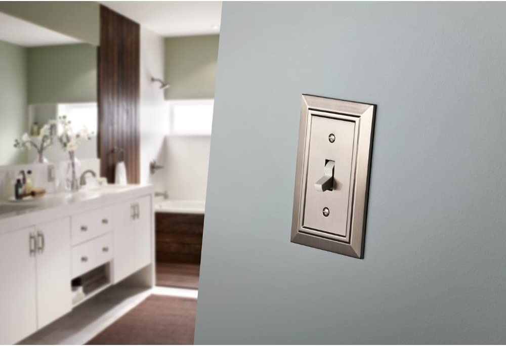 Satin Nickel Double Toggle Switch Wall Plate Switch Plate Classic Architecture Cover