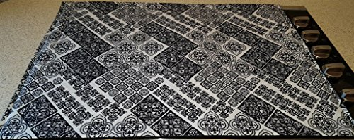 gs Mosaic Damask Cover & Protector for Glass/Ceramic Stove Top - Cook Top (Black) ()