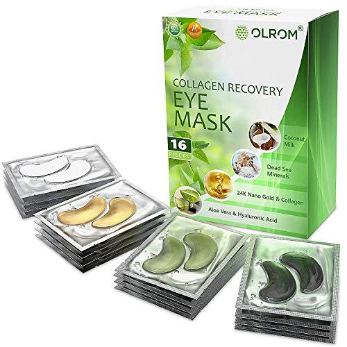 Olrom Eye Mask - 4 Kits Under Eye Patches: Gold Collagen Eye Pads, Detox Dead Sea Mineral Gel Eye Mask, Aloe Anti-Aging Hyaluronic Acid Eye Patches, Moisturizing Coconut Milk Under Eye Mask, 16 Pairs 1