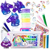 Unicorn Slime Kit for Girls - Kids Slime Kit with Fluffy Slime Kit, Unicorn Slime, Charms, Emoji Slime, Floam Beads, Glitter Add Ins DIY Rainbow Unicorn Slime Making Kit and Slime Accessories