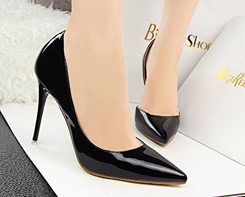 No.66 Town Women's Stiletto High Heel Dress Pumps Court Shoes Black a9di2