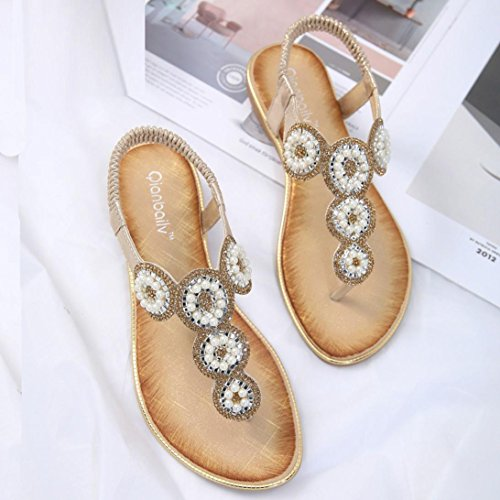 WYXlink Womens Sandals, Women Fashion Flat Large Size Rhinestone Flower Casual Sandals Beach Shoes Gold