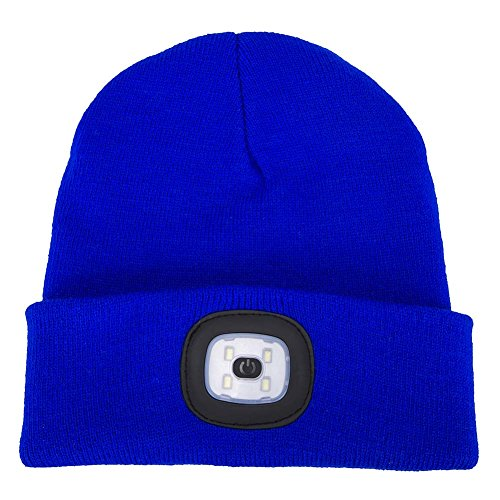 AONAN USB Rechargeable LED Beanie Cap, Lighting and Flashing Alarm Modes Ultra Bright 4 LED Hands Free Flashlight Unisex Winter Warmer Knit Cap Hat (Blue)