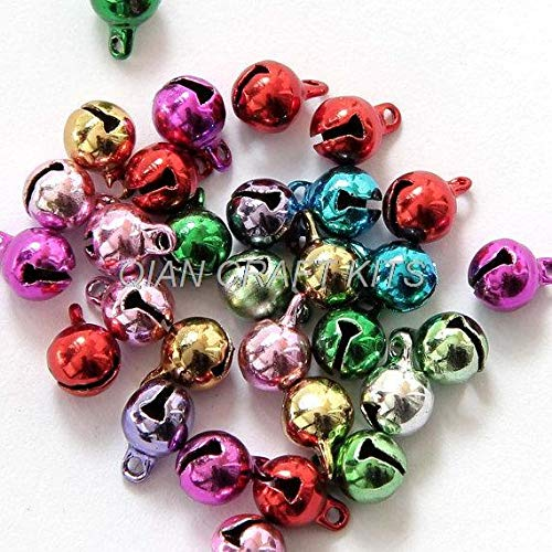 Dalab 500Pcs Multiple Colors Brass Copper Metal Small Bell Pendant Beads Finding 6mm Jingle Bell