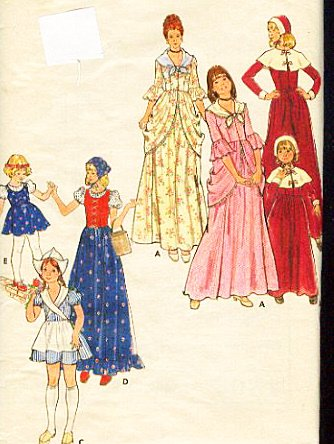 [Butterick 4205 Girls Pilgrim, Colonial, Dutch and Gypsy Costume Sewing Pattern Vintage] (Colonial Girl Costumes Pattern)