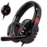 GranVela G927 Digital Virtual 7.1 Surround Sound Stereo Over-The-Ear Gaming Headset with Noise Reduction Microphone, LED Lighting, Volume Control for PC, Notebook (Black)