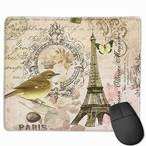 Vintage Paris Postcard Chair Non-Slip Rubber Mouse Mat Mouse Pad for Desktops, Computer, PC and Laptops (9.8'' X 11.8'')