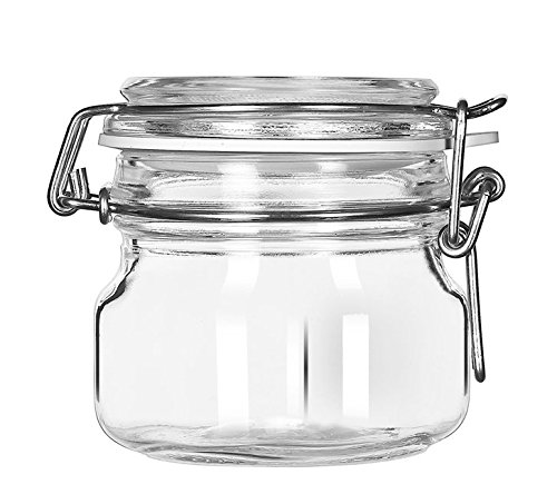 Libbey 1720722 Glass Jar with Clamp Lid (Set of 6), Clear