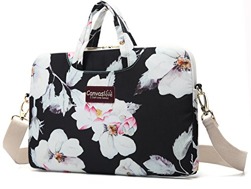 Canvaslove Lotus Pattern Waterproof Laptop Shoulder Messenger Case Sleeve Bag for MacBook Retina 12 inch - MacBook Pro 13 inch - iPad Pro 12.9 inch and 11 inch 12.5 inch Laptop