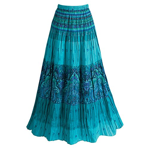 CATALOG CLASSICS Women's Peasant Skirt - Turquoise Blue Tiered Broom Maxi Skirt - XL