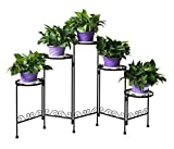 Funmall 5-Tiered Plant and Flower Stand Plant Flower Pot Rack Folding Scroll Flower Pot Holder Display,Black