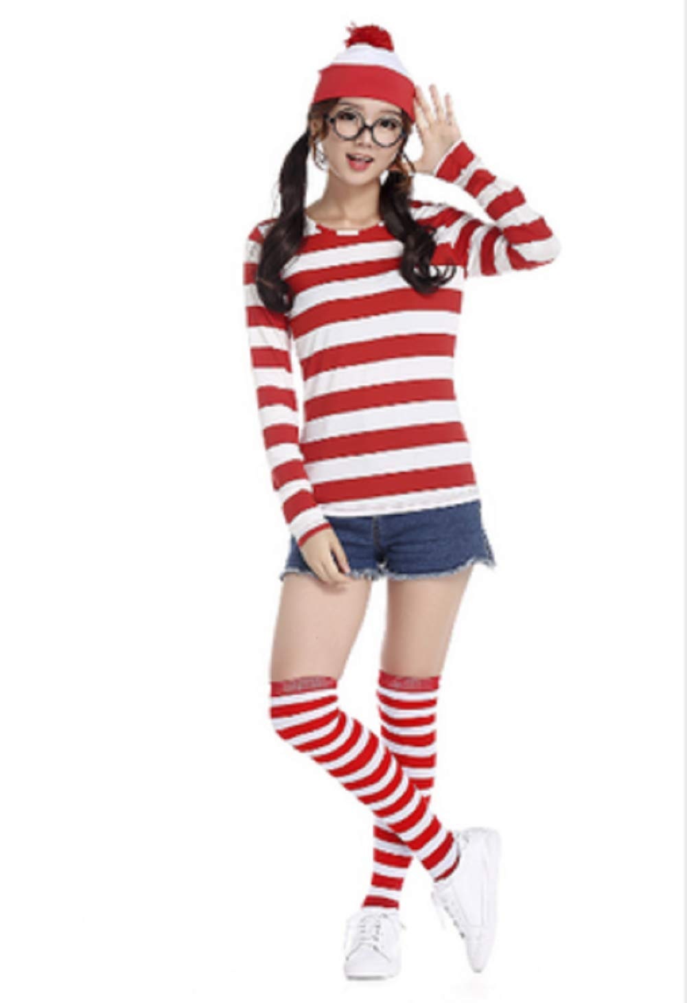 Taipin Where's Waldo Costume Funny Sweatshirt Outfit Glasses Suits