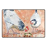 Vantaso Two Hens Eat Cake Soft Foam Door Mat for Children Non Skid Game Area Rugs Kids Bedroom Playroom Nursery Decor 31 x 20 inch