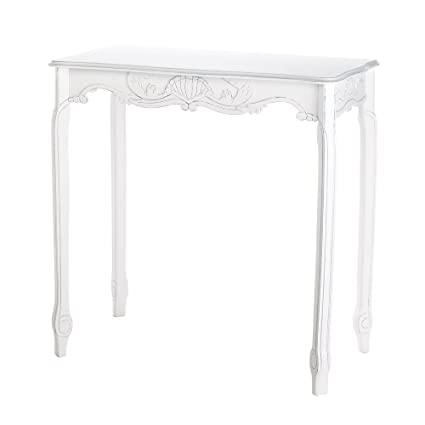 VERDUGO GIFT Distressed Scalloped Hall Table, White