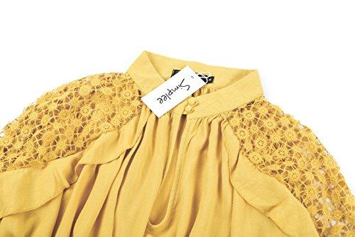 Épaule Dos Nu Féminin Simplee Vêtements Casual Volant En Tête Jaune Chemise Blouse