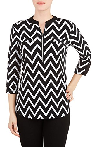 Nygard Women's Petite Slims Utility Shirt with Zipper BlkWhtChevron