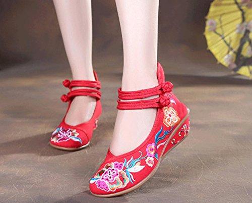 Avacostume Vrouwen Oude Peking Bloemen Borduren Dubbele Ankel Riem Sleehak Schoenen Rood