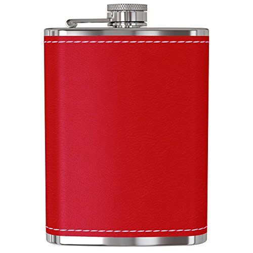 Flask for Liquor and Funnel - 8 Oz Leak Proof 18/8 Stainless Steel Pocket Hip Flask with Red Leather Cover for Discrete Shot Drinking of Alcohol, Whiskey, Rum and Vodka   Gift for Women