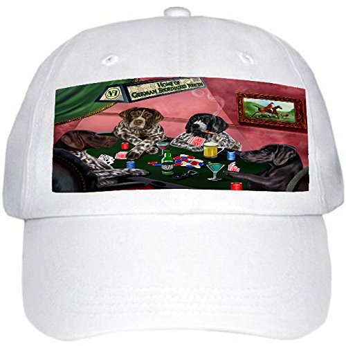 Home of German Shorthaired Pointers 4 Dogs Playing Poker Hat White (Hat Pointer White)