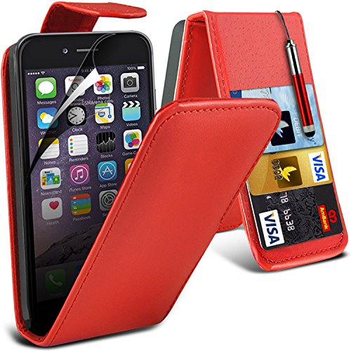 ONX3® ( Red ) Apple iPhone 6S étui Custom Made PU cuir flip Avec Crédit couverture de peau Slot Case / carte de débit Avec écran LCD Protecteur, Chiffon & Mini Stylet rétractable