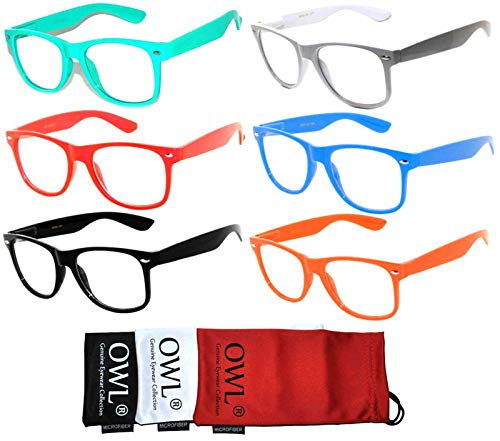 Retro 80's Classic Vintage Sunglasses with Clear Lens Frame Color - Turquoise White Black Pink Blue Red - 6 Pack OWL -