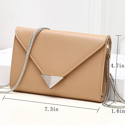 Clutch with in Drop Bag Bag YAOSEN Shoulder Evening Chain Handbag Khaki Leather Envelope Women qBxwvtPz