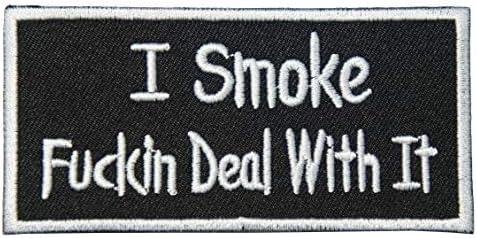 刺繍アイロン ワッペン パッチ アップリケ【I Smoke Fuckin Deal With It/タバコ吸ってますが、何か?】 禁煙グッズ スラング アメリカ モチーフ 手芸 飾り
