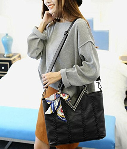 Nera Pelle A Di Messenger Tracolla Bag Grande Capacità Lady w4ATHz