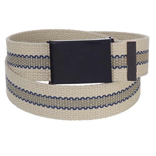 Sunny Belt Mens 1 ¼ Inch Wide Cut To Fit Reversible Canvas Web Belt Black Buckle