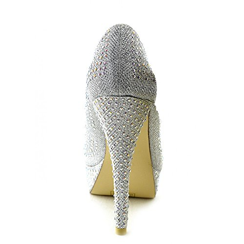 Kick Footwear - Womens Party Wedding Bridal Diamante Evening high heels Court Mesh Glitter Shoes Silver W3rG0b
