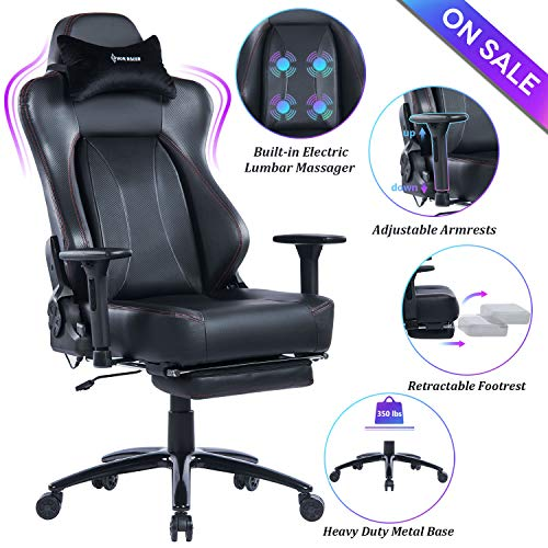 VON RACER Big & Tall Massage Reclining Gaming Chair Metal Base - Adjustable Back Angle and Retractable Footrest Ergonomic High-Back Leather Racing Executive Computer Desk Office Chair, Black