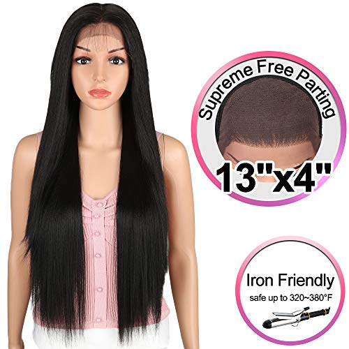 JOEDIR 30 Long Straight Wig Supreme Free Parting Lace Frontal Wigs With Baby Hair High Temperature Synthetic Wigs For Women 180% Density Ombre Color Wigs 250g(1B)