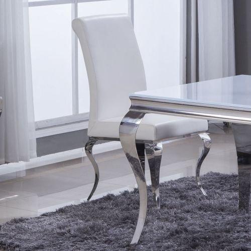 Amazon.de: Esszimmerstuhl Luca Kunstleder Weiß Barock Design Stuhl Stühle  Esszimmer Esszimmerstühle
