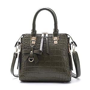 Fashion New Retro Casual Fashion Bills Shoulder Slung Large Capacity Women's Bag Leather Handbag (Color : Green)
