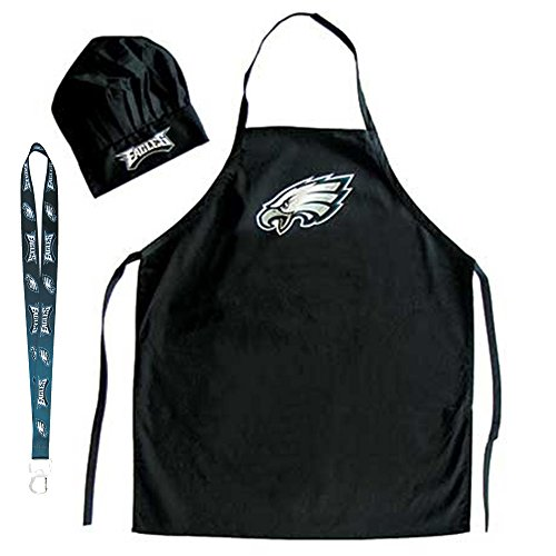(Pro Specialties Group Philadelphia Eagles NFL Barbeque Apron and Chef's Hat with Bottle)